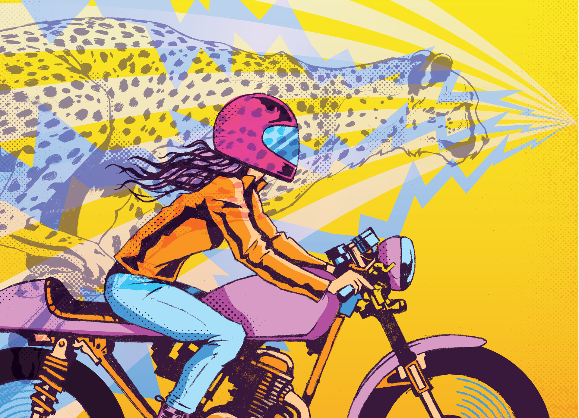 ilustration motorcycle cheetah