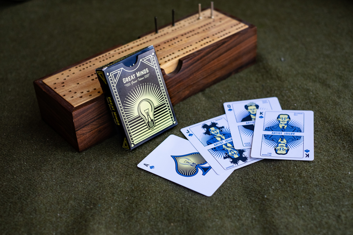 playing cards cribbage board