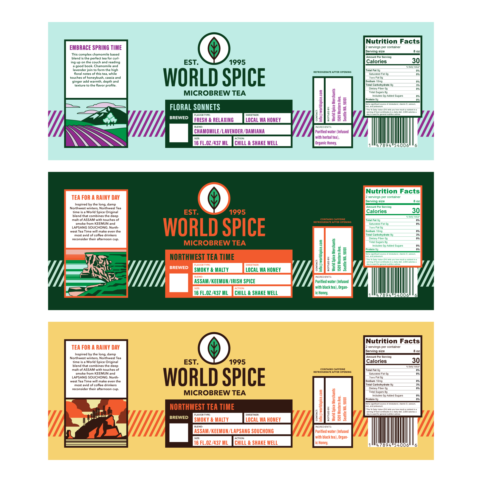 tea bottle labels